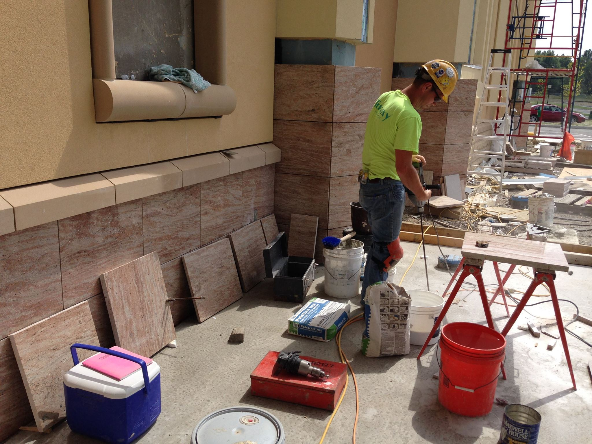 This image depicts a large commercial tile project in Austintown, Ohio. The tile and terrazzo facade of the Austintown Racino was completed by experts Youngstown Tile and Terrazzo.