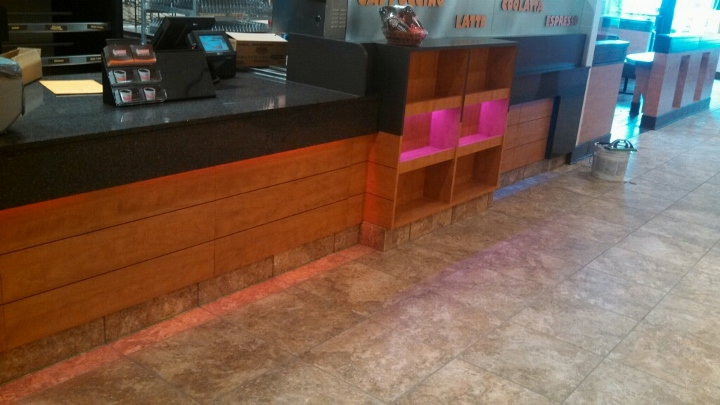 This image depicts a custom tile installation at Dunkin' Donuts. This tile flooring project was completed by Youngstown Tile & Terrazzo.